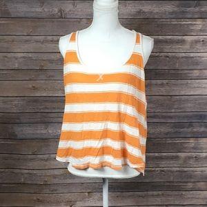 So Orange+White Striped Racerback Tank